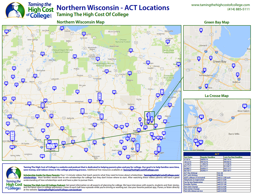 Northern Wisconsin - Green Bay Area ACT Test Center Locations